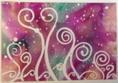 <h5>Moonlight Dancing</h5><p>Playing with acrylic ink, masking fluid and my obsession with swirls!</p>