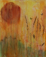 <h5>Forever in my Heart</h5><p>Casein & natural pigments colour explosion, grass from the garden in Kent where I was living, paper butterflies and pressed leaves. 18x22 inch canvas board.</p>