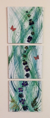 <h5>Continuity</h5><p>Our lives have flow, even when we feel as if they are breaking up. Casein curves, paper butterflies and pressed natural flowers on three 15x15 cm boards.</p>
