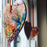 <h5>Wooden Hearts</h5><p>The first decoration I made for our new Cornish home, they hang at our windows. Painted with coffee and beet juice and then stamped with natural pigments and casein using leaf stamps. Each holds a word that I wished to bring into my life in 2016.</p>