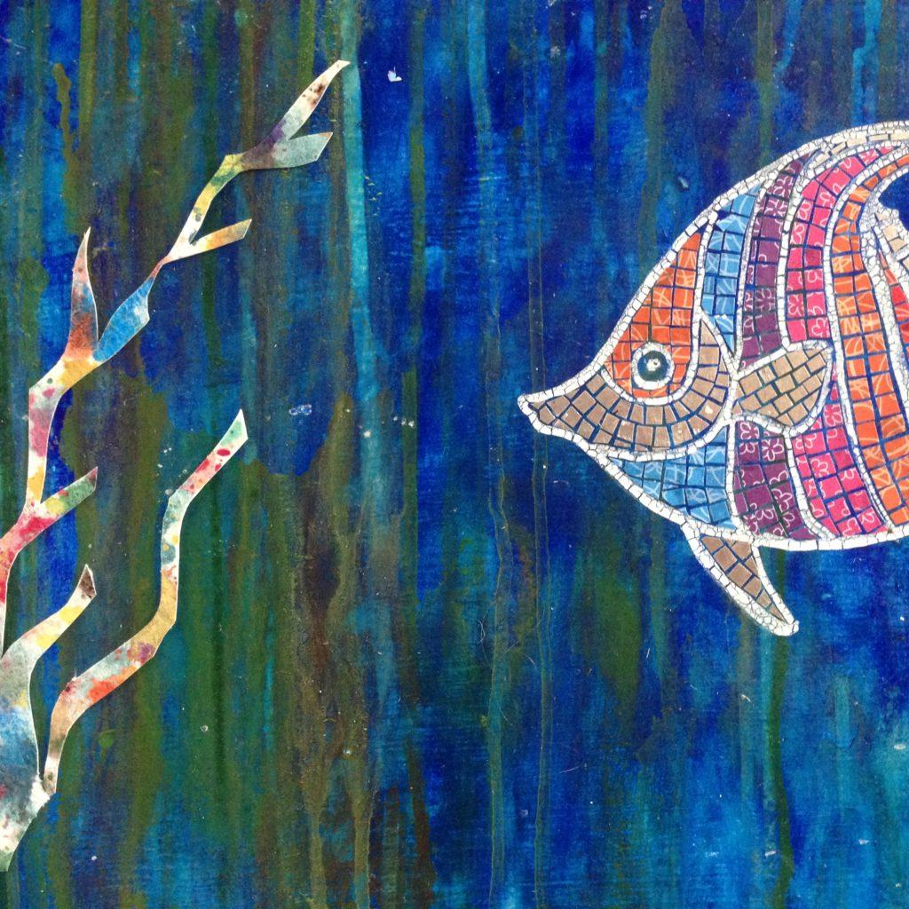 angel fish with seaweed